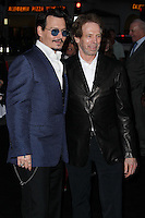 "WESTWOOD, LOS ANGELES, CA, USA - APRIL 10: Johnny Depp, Jerry Bruckheimer at the Los Angeles Premiere Of Warner Bros. Pictures And Alcon Entertainment's ""Transcendence"" held at Regency Village Theatre on April 10, 2014 in Westwood, Los Angeles, California, United States. (Photo by Xavier Collin/Celebrity Monitor)"