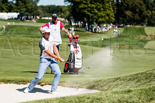 28.08.2015. Edison, NJ, USA.  Henrik Stenson hits out of a green side bunker at 12 during the second round of The Barclays at Plainfield Country Club in Edison, NJ.