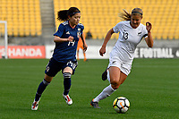 Japan&rsquo;s Yui Hasegawa and Ferns&rsquo; Rosie White in action during the  International Football - Football Ferns v Japan  at Westpac Stadium, Wellington, New Zealand on Sunday 10 June 2018.<br /> Photo by Masanori Udagawa. <br /> www.photowellington.photoshelter.com