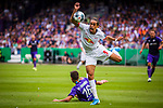 11.08.2019, Stadion an der Bremer Brücke, Osnabrück, GER, DFB Pokal, 1. Hauptrunde, VfL Osnabrueck vs RB Leipzig, DFB REGULATIONS PROHIBIT ANY USE OF PHOTOGRAPHS AS IMAGE SEQUENCES AND/OR QUASI-VIDEO<br /> <br /> im Bild | picture shows:<br /> Yussuf Poulsen (RB Leipzig #9) im Duell mit Thomas Konrad (VfL Osnabrueck #16), <br /> <br /> Foto © nordphoto / Rauch