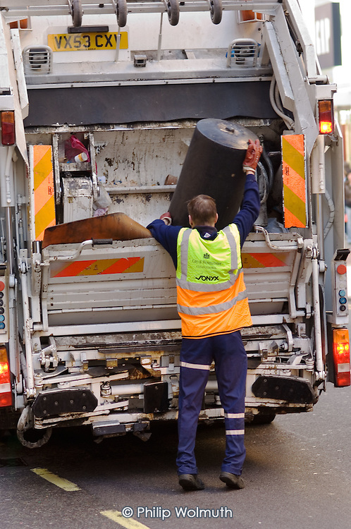 Refuse collection in Oxford Street, London, by private contractor Onyx on behalf of Westminster City Council.
