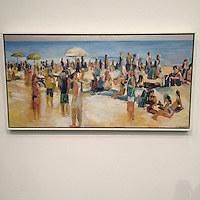 "Laguna Beach by John Kilduff, Framed Digital Print on Canvas, White Frame, Framed Dimensions, 25 1/4"" x 49"" x 2.5"""