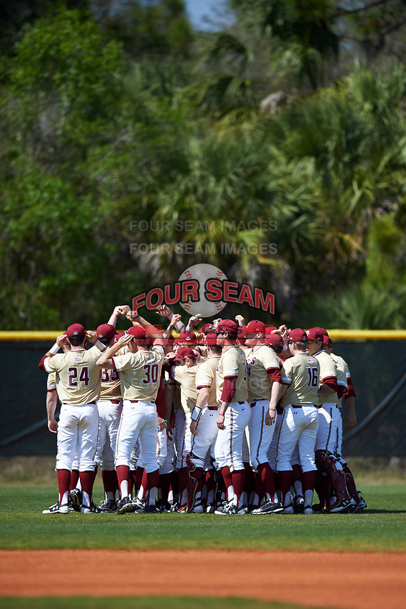 Boston College Eagles huddle up before a game against the Central Michigan Chippewas on March 3, 2017 at North Charlotte Regional Park in Port Charlotte, Florida.  Boston College defeated Central Michigan 5-4.  (Mike Janes/Four Seam Images)