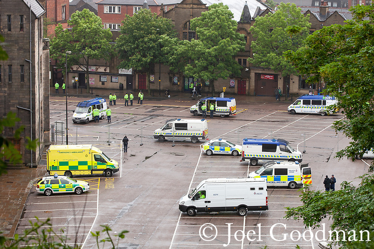 © Joel Goodman - 07973 332324 . 09/06/2012. Rochdale , UK. Police vans and support vehicles parked outside Rochdale Town Hall ahead of the demonstration . The English Defence League ( EDL ) hold a march and rally in Rochdale Town Centre . Photo credit : Joel Goodman