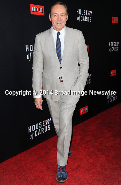 Pictured: Kevin Spacey<br /> Mandatory Credit &copy; Adhemar Sburlati/Broadimage<br /> Film Premiere of House of Cards<br /> <br /> 2/13/14, Los Angeles, California, United States of America<br /> <br /> Broadimage Newswire<br /> Los Angeles 1+  (310) 301-1027<br /> New York      1+  (646) 827-9134<br /> sales@broadimage.com<br /> http://www.broadimage.com