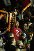 Fans wave for promotional giveaways during a break during the National basketball league match between the Wellington Saints  and Taranaki Mountainairs at TSB Bank Arena, Wellington, New Zealand onFriday, 9 April 2010. Photo: Dave Lintott / lintottphoto.co.nz
