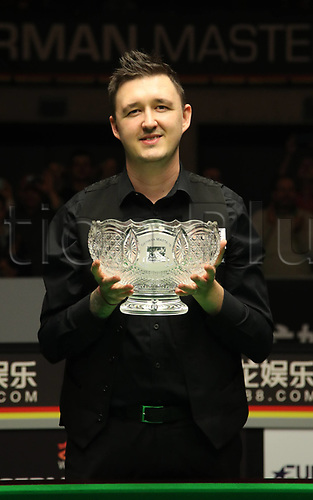 3rd February 2019, Berlin, Germany; Snooker Berlin German Masters in Tempodrom;  Final Kyren Wilson with his winners trophy