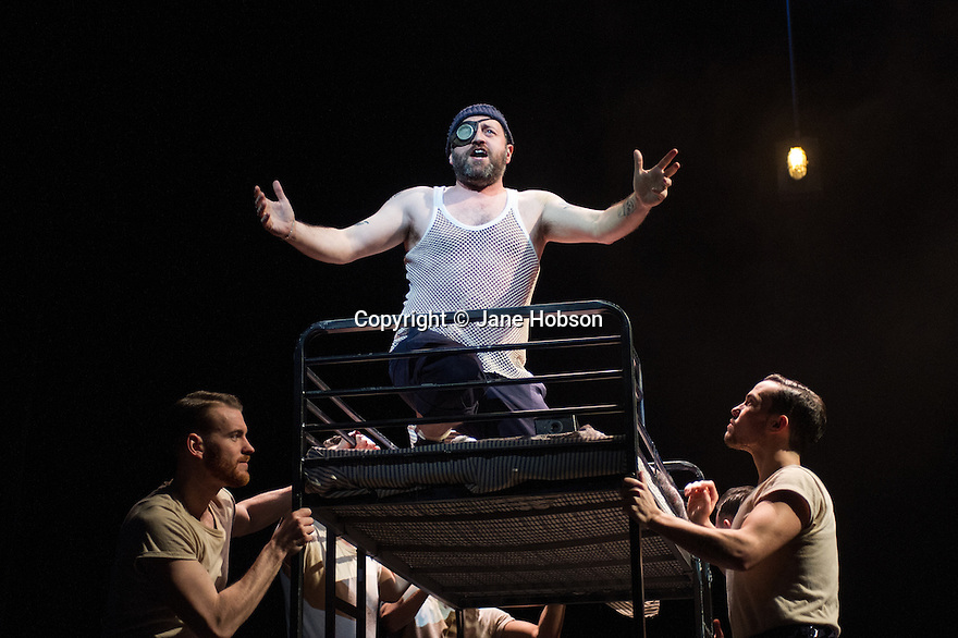London, UK. 14.02.2014. Regan de Wynter Ltd, in association with Hilary A Williams present Gilbert and Sullivan's HMS PINAFORE, at the Hackney Empire from Friday 14th to Sunday 23rd February, prior to an 8 week UK tour. Picture shows: Aidan Crowley (dick Deadeye). Photograph © Jane Hobson.