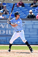 Wilmington Blue Rocks outfielder Bubba Starling (16) at bat during a game against the Myrtle Beach Pelicans on April 27, 2014 at Frawley Stadium in Wilmington, Delaware.  Myrtle Beach defeated Wilmington 5-2.  (Mike Janes/Four Seam Images)