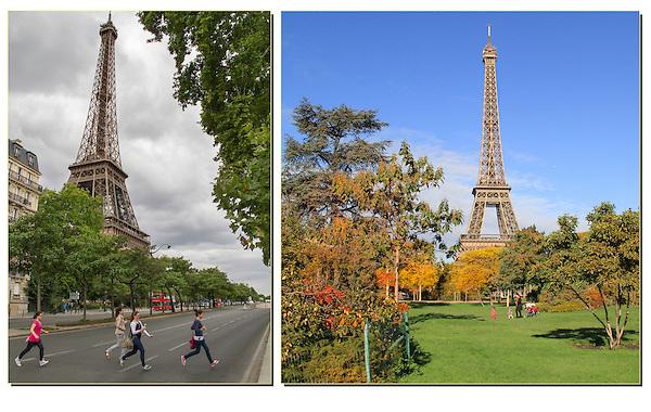 Eiffel Tower and people enjoying Paris, France.