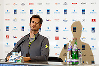 Andy Murray is interviewed during a media day at the Barclays ATP World Tour Finals at The O2 centre, North Greenwich, London.