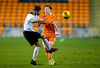 Blackpool's Nathan Shaw is tackled by Derby County's Callum Minkley<br /> <br /> Photographer Alex Dodd/CameraSport<br /> <br /> The FA Youth Cup Third Round - Blackpool U18 v Derby County U18 - Tuesday 4th December 2018 - Bloomfield Road - Blackpool<br />  <br /> World Copyright &copy; 2018 CameraSport. All rights reserved. 43 Linden Ave. Countesthorpe. Leicester. England. LE8 5PG - Tel: +44 (0) 116 277 4147 - admin@camerasport.com - www.camerasport.com