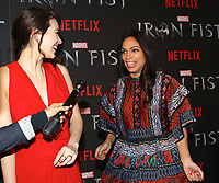 www.acepixs.com<br /> <br /> March 15 2017, New York City<br /> <br /> Jessica Henwick (L) and Rosario Dawson arriving at a screening of Marvel's 'Iron Fist' at the AMC Empire 25 on March 15, 2017 in New York City. <br /> <br /> By Line: Nancy Rivera/ACE Pictures<br /> <br /> <br /> ACE Pictures Inc<br /> Tel: 6467670430<br /> Email: info@acepixs.com<br /> www.acepixs.com