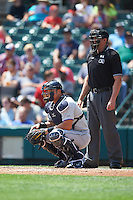 Durham Bulls catcher Hank Conger (21) and umpire Shane Livensparger during a game against the Rochester Red Wings on July 20, 2016 at Frontier Field in Rochester, New York.  Rochester defeated Durham 6-2.  (Mike Janes/Four Seam Images)