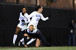 DURHAM, NC - NOVEMBER 17: Duke's Kayla McCoy (12) reacts after scoring a goal. The Duke University Blue Devils hosted the Oklahoma State University Cowboys on November 17, 2017 at Koskinen Stadium in Durham, NC in an NCAA Division I Women's Soccer Tournament Second Round game. Duke won the game 7-0.