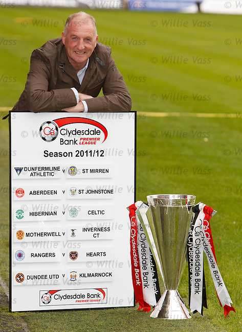 Gerry McCabe of Dunfermline wth the opening weekend's SPL fixtures