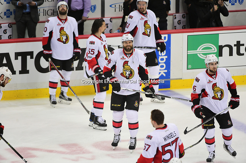 May 21, 2017: Ottawa Senators left wing Viktor Stalberg (24) (center)  warms up before game five of the National Hockey League Eastern Conference Finals between the Ottawa Senators and the Pittsburgh Penguins, held at PPG Paints Arena, in Pittsburgh, PA. Pittsburgh shuts out Ottawa 7-0 to lead the series 3-2.  Eric Canha/CSM