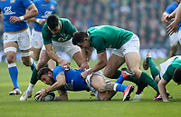 Saturday 10th February 2018 | Ireland vs Italy<br /> <br /> Conor Murray and Jacob Stockdale tackle Matteo Minozzi during the Six Nations Rugby Championship match between Ireland and Italy at the Aviva Stadium, Lansdowne Road,  Dublin Ireland. Photo by John Dickson / DICKSONDIGITAL