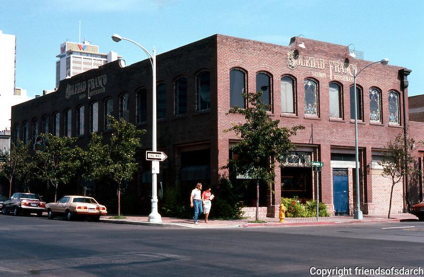 San Diego: Columbia Square, Soledad Franco Restaurant.  (Photo '82)