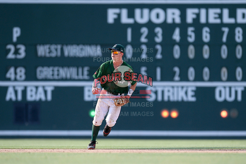 Shortstop Grant Williams (4) of the Greenville Drive plays defense in a game against the West Virginia Power on Sunday, May 19, 2019, at Fluor Field at the West End in Greenville, South Carolina. Greenville won, 8-4. (Tom Priddy/Four Seam Images)