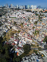 Wealthy and poor residential enclaves side by side. Santa Fe, Mexico City