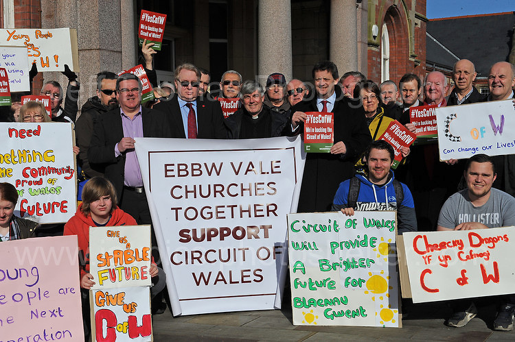 Supporters of the Circuit of Wales racing track that is proposed for Ebbw Vale, Blaenau Gwent.  Amongst the supporters was Mr Michael Carrick (centre) CEO Circuit of Wales project. <br /> <br /> Jeff Thomas Photography -  www.jaypics.photoshelter.com - <br /> e-mail swansea1001@hotmail.co.uk -<br /> Mob: 07837 386244 -