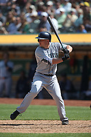 OAKLAND, CA - AUGUST 15:  Kyle Seager #15 of the Seattle Mariners bats against the Oakland Athletics during the game at the Oakland Coliseum on Wednesday, August 15, 2018 in Oakland, California. (Photo by Brad Mangin)