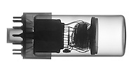 An X-Ray of a Photomultiplier tube.  A photomultiplier tube is used to detect very small light levels by converting photons into electrons then in turn multipling the number of electrons until the signal can be detected with convential electronics.
