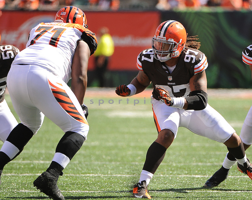 Cleveland Browns Jabaal Sheard (97) in action during a game against the Cincinnati Bengals on September 16, 2012 at Paul Brown Stadium in Cincinnati, OH. The Bengals beat the Browns 34-27.