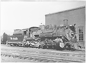 Engineer side view of K-36 #480 by the Chama roundhouse.<br /> D&amp;RGW  Chama, NM