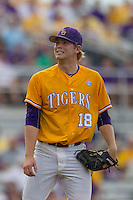 LSU Tigers pitcher Austin Bain (18) during the Southeastern Conference baseball game against the Texas A&M Aggies on April 25, 2015 at Alex Box Stadium in Baton Rouge, Louisiana. Texas A&M defeated LSU 6-2. (Andrew Woolley/Four Seam Images)