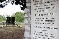 Il Museo del Monte San Michele, una delle montagne pi&ugrave;' tristemente famose per le sue cruente battaglie Cippo commemorativo per i bersaglieri<br /> The museum of Saint Michael Mount, famous for it's bloody battles. <br /> Monte San Michele 03-09-2014 Lungo tutto il confine del Friuli Venezia Giulia, e nella fattispecie nella zona del Carso isontino, si snoda quello che durante la Prima Guerra Mondiale, o Grande Guerra, era chiamato il fronte orientale, conteso tra l'esercito italiano e quello austro-ungarico. La zona del fiume Isonzo, obiettivo strategico, fu teatro di ben 11 battaglie e di una estenuante guerra di posizione, costata la vita migliaia di soldati. Numerose sono ancora le testimonianze di quei terribili giorni sulle colline isontine, per cui, con i patrocinio della comunit&agrave;' europea, sono stati costituiti dei veri 'musei all' aperto' con percorsi che permettono di visitare i luoghi pi&ugrave;' importanti di quelle battaglie.<br /> Along the northern borders of Friuli Venezia Giulia, Italy, was part of the called Eastern Front during the 'World War I' also said the 'Great War'. The Isonzo river, a strategic target, was theatre of 11 battles between italian and Austro-Hungarian troops, where hundred thousand soldiers lost their lives. <br /> To remember that war, a series of 'open air museums' where established, along the most important places where the battles took place and where is still possible to see trenched systems, hospitals, mass graves, barbed wire ecc.<br /> Photo Samantha Zucchi Insidefoto
