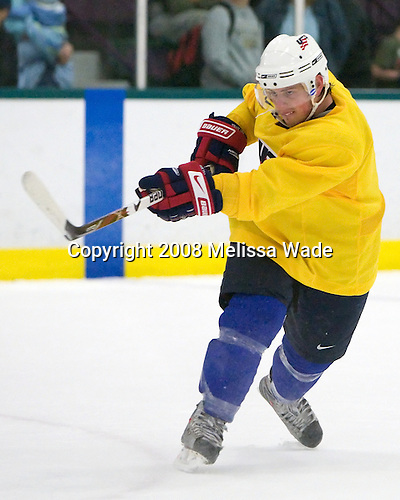 "Nathan Gerbe (USA 16 - Boston College) - Team USA practiced and then held a skate with the fans to benefit ""Opportunity Skate"" at the Family Ice Center in Falmouth, Maine on Saturday, April 26, 2008."