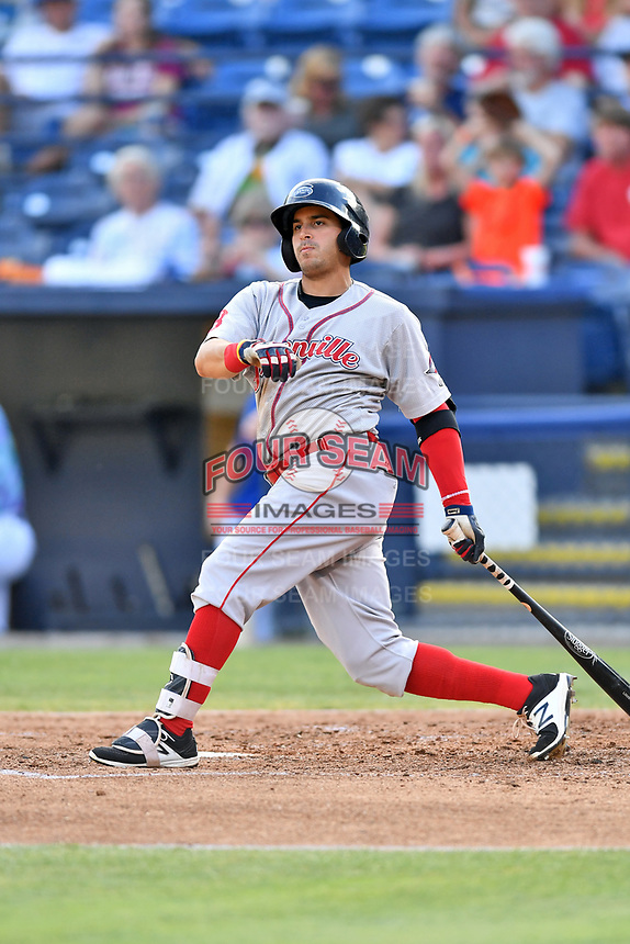 Greenville Drive center fielder Chris Madera (15) swings at a pitch during a game against the Asheville Hippies at McCormick Field on June 29, 2017 in Asheville, North Carolina. The Drive defeated the Tourists 9-6. (Tony Farlow/Four Seam Images)