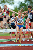 03 MAY 2010 - BEDFORD, GBR - Laura Parker (St Mary's) clears a hurdle first during the womens 2000m steeplechase at the BUCS Outdoor Athletics Championships (PHOTO (C) NIGEL FARROW)