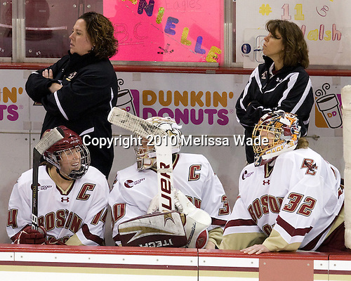 Courtney Kennedy (BC - Assistant Coach), Katelyn Kurth (BC - 14), Molly Schaus (BC - 30), ?, Kiera Kingston (BC - 32) - The Boston College Eagles defeated the visiting Brown University Bears 5-2 on Sunday, October 24, 2010, at Conte Forum in Chestnut Hill, Massachusetts.