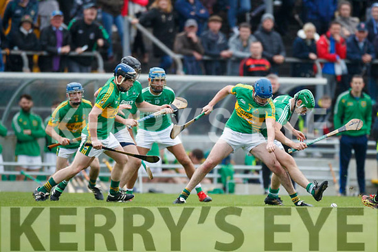 Paul O'Carroll Ballyduff in action against Pat Corridan Lixnaw in the Senior County Hurling Final in Austin Stack Park on Sunday