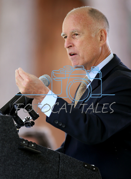 California Gov. Jerry Brown speaks at the 18th annual Lake Tahoe Summit at the Valhalla Estate in South Lake Tahoe, Ca., on Tuesday, Aug. 19, 2014.  <br /> Photo by Cathleen Allison