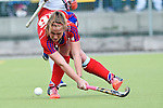 Mannheim, Germany, April 18: During the 1. Bundesliga Damen match between TSV Mannheim (white) and Mannheimer HC (red) on April 18, 2015 at TSV Mannheim in Mannheim, Germany. Final score 1-7 (1-4). (Photo by Dirk Markgraf / www.265-images.com) *** Local caption *** Nike Lorenz #16 of Mannheimer HC