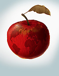 Illustrative image of an apple with world map representing environmental damage
