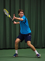Rotterdam, The Netherlands, 15.03.2014. NOJK 14 and 18 years ,National Indoor Juniors Championships of 2014, Joris Bodin (NED)<br /> Photo:Tennisimages/Henk Koster