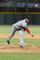 AZL Indians 2 relief pitcher Jose Oca (69) follows through on his delivery during an Arizona League game against the AZL Cubs 2 at Sloan Park on August 2, 2018 in Mesa, Arizona. The AZL Indians 2 defeated the AZL Cubs 2 by a score of 9-8. (Zachary Lucy/Four Seam Images)