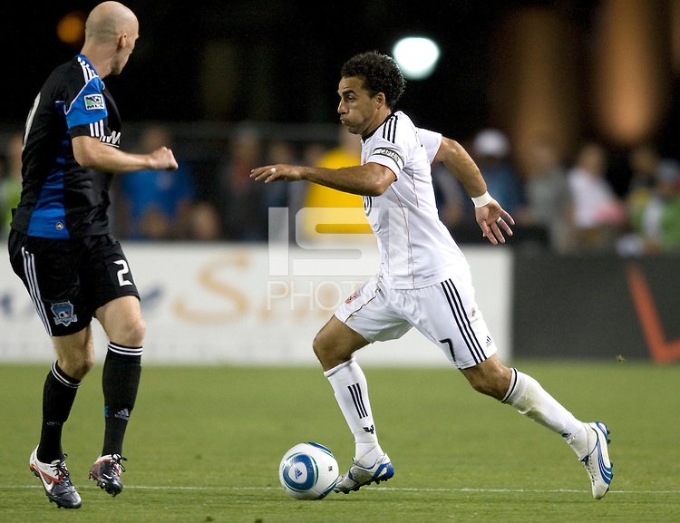 Dwayne De Rosario of DC United in action during the game against the Earthquakes at Buck Shaw Stadium in Santa Clara, California on July 30th, 2011.   DC United defeated San Jose Earthquakes, 2-0.