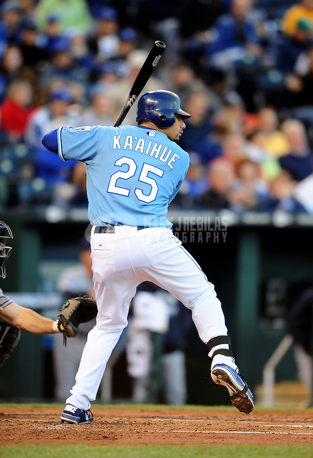 Oct. 2, 2010; Kansas City, MO, USA; Kansas City Royals first baseman Kila Ka'aihue against the Tampa Bay Rays at Kauffman Stadium. Mandatory Credit: Mark J. Rebilas-