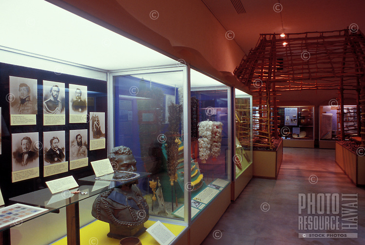 Displays and walkways at the Lyman Museum in Hilo.  The museum is a missionary home from the 1800s, and the site also has scientific and Hawaiian culture galleries