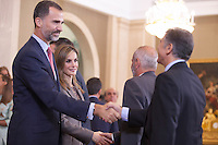 King Felipe VI of Spain and Queen Letizia of Spain receive  the swimming and water polo team´s representatives during official audience at Zarzuela Palace in Madrid, Spain. October 10, 2014. (ALTERPHOTOS/Victor Blanco)