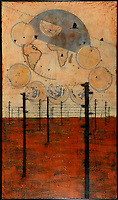 Mixed media encaustic photo transfer of telephone poles over antique map.