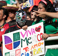 PASADENA, CA – June 25, 2011: Mexico fans during the Gold Cup Final match between USA and Mexico at the Rose Bowl in Pasadena, California. Final score USA 2 and Mexico 4.
