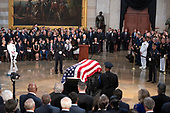 United States Vice President Mike Pence makes remarks during the Lying in State ceremony honoring the late US Senator John McCain (Republican of Arizona) in the US Capitol Rotunda in Washington, DC on Friday, August 31, 2018.<br /> Credit: Ron Sachs / CNP<br /> (RESTRICTION: NO New York or New Jersey Newspapers or newspapers within a 75 mile radius of New York City)