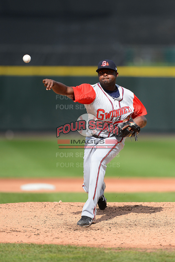 Gwinnett Braves pitcher Wirfin Obispo #45 during a game against the Rochester Red Wings on June 16, 2013 at Frontier Field in Rochester, New York.  Rochester defeated Gwinnett 6-3.  (Mike Janes/Four Seam Images)